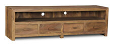 LIVING ROOM CUBA NATURAL LARGE 4 DRAWER TV UNIT (C32NW)