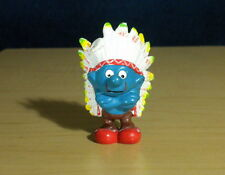 Smurfs 20144 Indian Smurf Colored Feathers Rare Vintage Figure Toy PVC Figurine