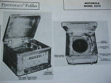MOTOROLA 55F11, HS-30 PHONOGRAPH - RADIO PHOTOFACT