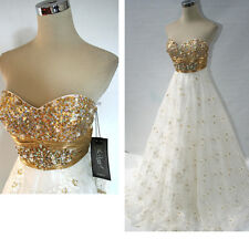 NWT Mac Duggal 76246H Gold Ivory $498 Evening Gown 10