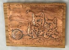 """Etched Engraved Hammered Tooled Copper 7X9"""" Kitty Cat Pair Art Picture"""