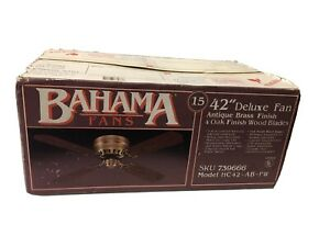 "Vintage Bahama 42"" Deluxe Fan Antique Brass Finish 4 Oak Finish Wood Blades New"