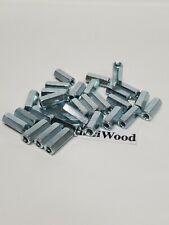 """30 Pack, 10-32 X 3/4"""" Long Hex Coupling Nut W/ Zinc Plating,3/4"""" long x 5/16"""" w."""