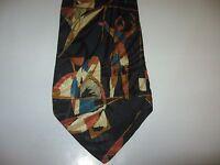 TIE 58 x 3.75 Black Brown Orange SILK Necktie (12814) Free US Ship