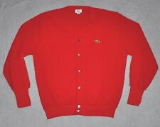 vtg Lacoste Cardigan Sweater Red Men's LARGE L 100% ORLON Acrylic Crocodile USA