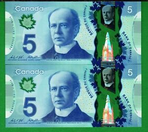 Canada - 2013 Bank of Canada 2X $5 Dollars P106c Pair Banknote UNC+ Condition