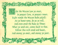 Poster WICCAN REDE LAW BOOK OF SHADOWS PAGE Guidandce Pagan 8 1/2 x 11
