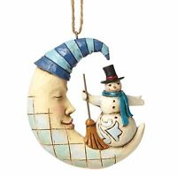 Heartwood Creek Snowman on Crescent Moon Hanging Figurine  by Jim Shore  25440