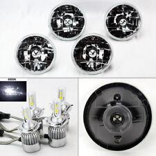 "FOUR 5.75"" 5 3/4 Round Clear Glass Headlight Conversion w/ 36W LED H4 Bulbs Pont"