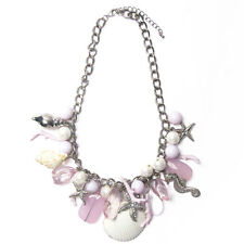 CHUNKY MULTI BEAD SHELL PEARLY STATEMENT NECKLACE EARRING SET