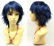 Dark Midnight Blue Short Wig Shag Pixie Wind Blown Synthetic Cosplay Costume