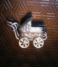 VINTAGE Fancy BABY CARRIAGE Bracelet sterling Silver Charm