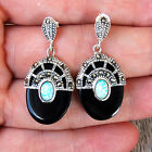 #E595 Style Art Déco Boucles d'oreilles Argent 925 Onyx Opale & Marcassites