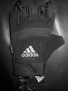 Adidas Performance Half Finger Black Silver Training Workout Gym Gloves XL 2XL