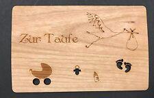 Grußkarte aus Holz Karte Geschenk Storch Geburt Taufe Kinderwagen Schnuller