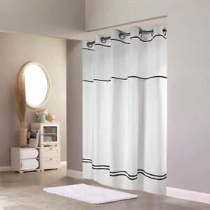 HOOKLESS HBH40MYS0110SL74 Shower Curtain,White/Black,Polyester