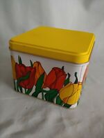 Vintage Potpourri Press Tin Container Colorful Tulips Yellow Square #A