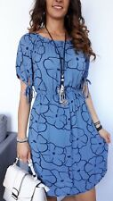 ★Longshirt Minikleid Tunika Shirtkleid STRETCH Carmen Blumen blau azur ★ S M/L