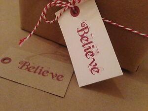 12 Vintage/Retro/Rustic Christmas Tags Label Parcel Gift Present Believe