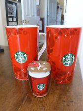 Starbuck's Coffee Mugs-Pair 2013 Holiday-Red/Holly/Snowflakes +matching Ornament