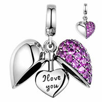 'I Love You' Heart Crystal Charm 925 Silver - Gift for Mum Sister Daughter Nan
