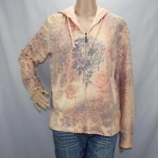 Green Tea Hoodie Zipper Front Jacket Pink Floral Design Ladies Sz Large
