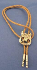 Vintage Silver-Tone Metal Saddle Western Theme w/ Tan Leather String Bolo Tie
