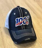 NFL 100th Season Cap Hat 2019 Adjustable Patch Style Denim Trucker Distress 100