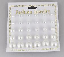15 pair White SMALL to BIG graduated size faux pearl bead stud post earrings