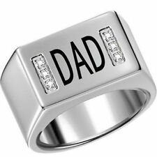 Men Rhodium Plated Ring Band DAD Father Day Size 8 Gift Wedding Graduation