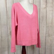 H & M Divided Small Women's Long Sleeve Sweater Blouse Pink V-Neck Knit $24.99
