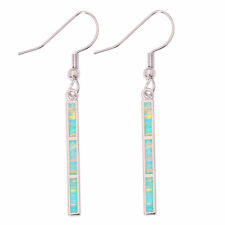 """Gems Dangle Earrings 1 7/8"""" Oh4181 Green Fire Opal Silver Fashion Women Jewelry"""