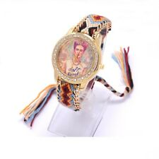 Frida Kahlo Daft Punk Black & Multi-Colored Plaited Quartz Wristwatch