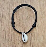 Pulsera negra con concha regulable hombre mujer verano surf nuevo amuleto moda