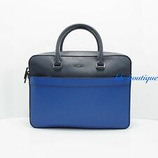 NWT Michael Kors Men Harrison Zip Briefcase Laptop Bag Leather Atlantic BlueNavy
