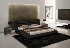 WAVE - KING SIZE MODERN DESIGN BLACK LEATHER PLATFORM BED