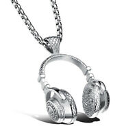 Hip Hop DJ Wireless Headphone Design Silver Men Stainless Steel Pendant Necklace