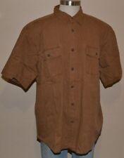 Basic Editions Short Sleeve Brown 100% Cotton Button Down Shirt Men's 2XL NWOT