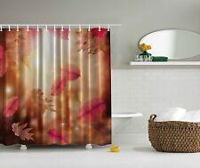 Falling Autumn Orange Beige Brown Leaves Digital Photogram Shower Curtain
