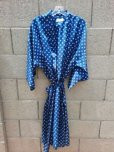 Vintage Christian Dior Monsieur 100% Silk Mens Robe One Size Navy Blue Pattern