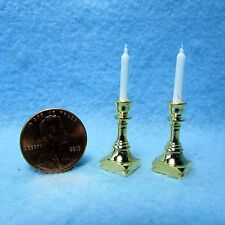 Dollhouse Miniature Brass Candle Sticks with Candles ~ BL395