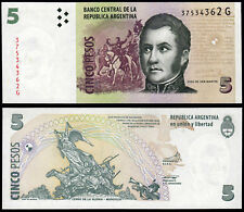 ARGENTINA 5 PESOS (P353) N. D. (2012) prefisso G UNC