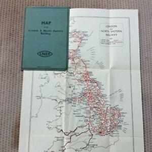 LONDON NORTH EASTERN RAILWAY CASED SYSTEM MAP C 1930 Bartholemew 28 x 38 CM VGC