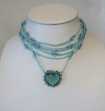Blue Beaded necklace with heart diamente charm