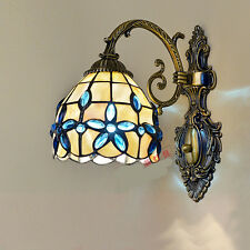 Mediterranean Tiffany Shell Crystal Stained Glass Wall Lamp Light Bedside Sconce