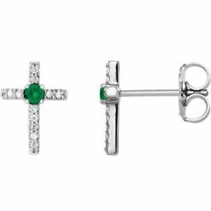 Chatham Sintetico Smeraldo & .06 Carati Diamante Croce Orecchini IN Platino