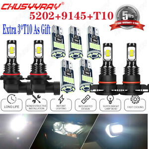 For Cadillac Escalade ESV 07-13 White Front LED Fog Light Driving DRL Lamps Kit