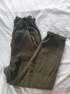 Zara Paperbag Khaki Trousers 10