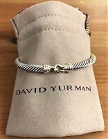 David Yurman Sterling Silver 925 5mm Cable Buckle Bangle Bracelet with 18K Gold.