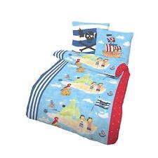 Bettwäsche Pirateninsel blau 135 x 200 cm Biber 100% Baumwolle Kinder 2-teilig